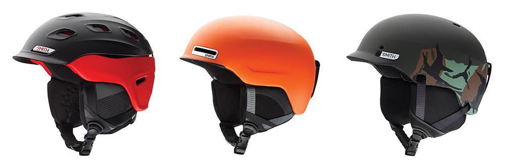 SMITHの中には日本人の骨格に合わせた「ジャパンフィット」モデルもラインナップ。ヘルメットが似合わないと思っている人の概念を変えるはずだ。左からハイエンドの「VANTAGE(バンテージ)」、軽量モデルの「MAZE(メイズ)」、高耐久の「GAGE(ゲイジ)」