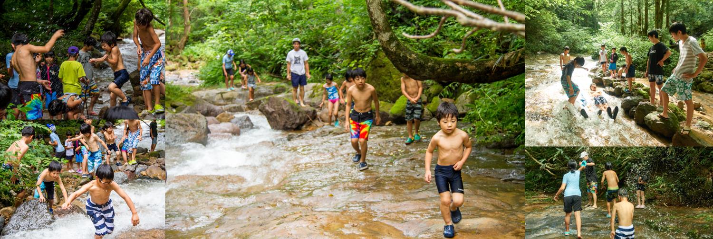 富山の水に触れる時間。やはり子供達は自然が好きなのだろう。自由な遊びの中にもスノーボードに繋がる動きが沢山ある