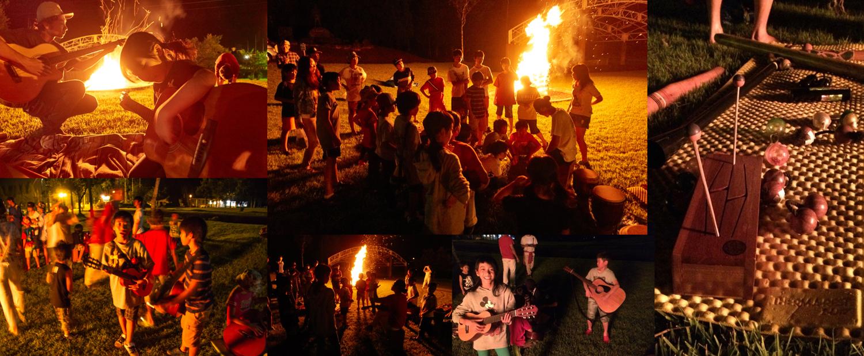 毎年恒例のキャンプファイヤー。今年は「農MUSIC農LIFE」とのコラボ。今回は単純なライブではなく音楽の楽しさを子供達に伝えたい。と様々な楽器を持ち込み子供達に触れさせていた