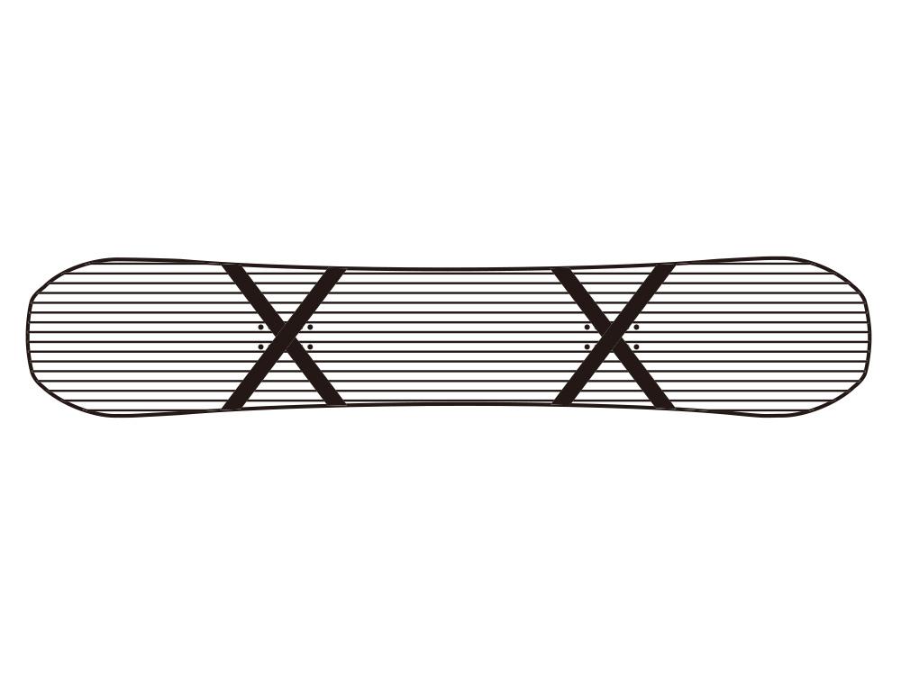 X状に入れられたカーボンストリンガー 両足下にはそれぞれX状にカーボンが入れられピンポイントで足下のフレックス、トーションを強化。パークライドでの繊細な動きを強いカーボンがサポートする