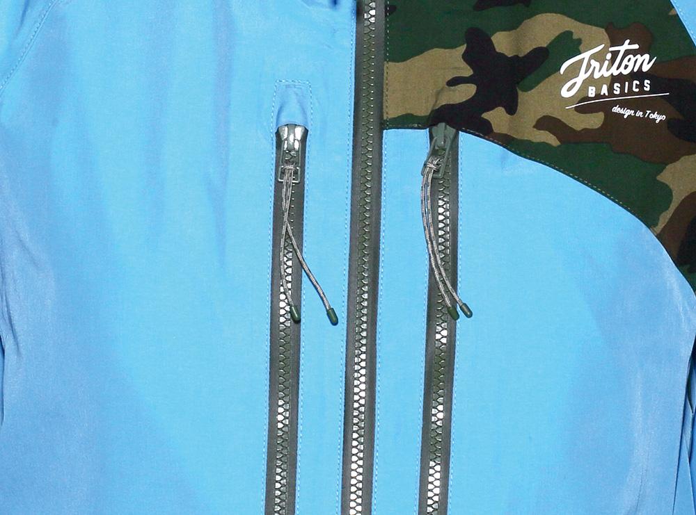YKK Aqua Guard®ビスロンを採用。水分や風の浸入を防ぎつつ、軽量化のために必要不可欠なパーツ
