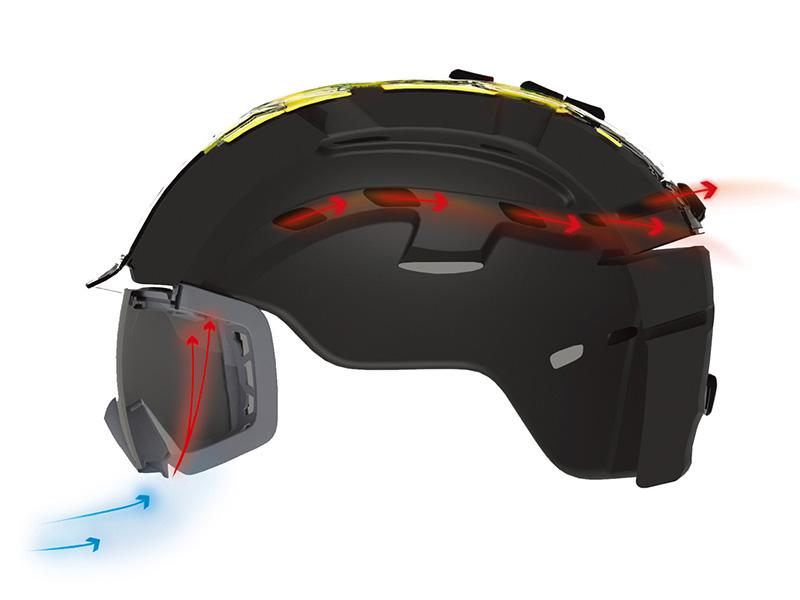 エアーエバック 通常のヘルメットはゴーグルフレーム上部のベンチレーションを塞ぎ、曇りの原因となる。SMITHのエアーエバックベンチレーションシステムは、ゴーグルの下部から冷たい空気を取り込み、ゴーグル内部の湿った空気をヘルメット内のベンチレーションシステムへと誘導し、後部から吐き出す