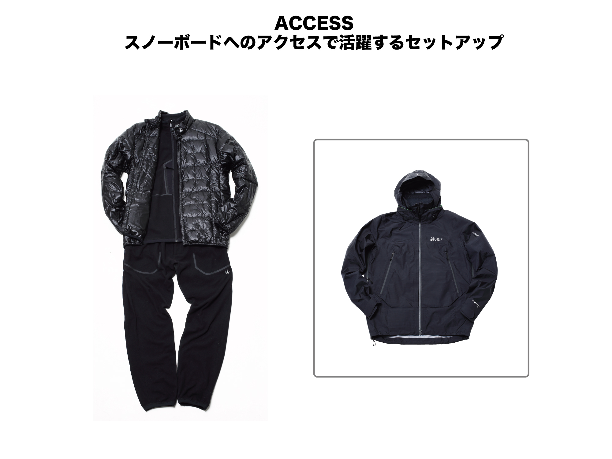 (上)(INNER)MICRO FLEECE JACKET:¥34,000 (OUTER)PACKABLE DOWN JACKET:¥46,000/LW JACKET:¥79,000 (下)AK457 MICRO FLEECE PANT:¥34,000