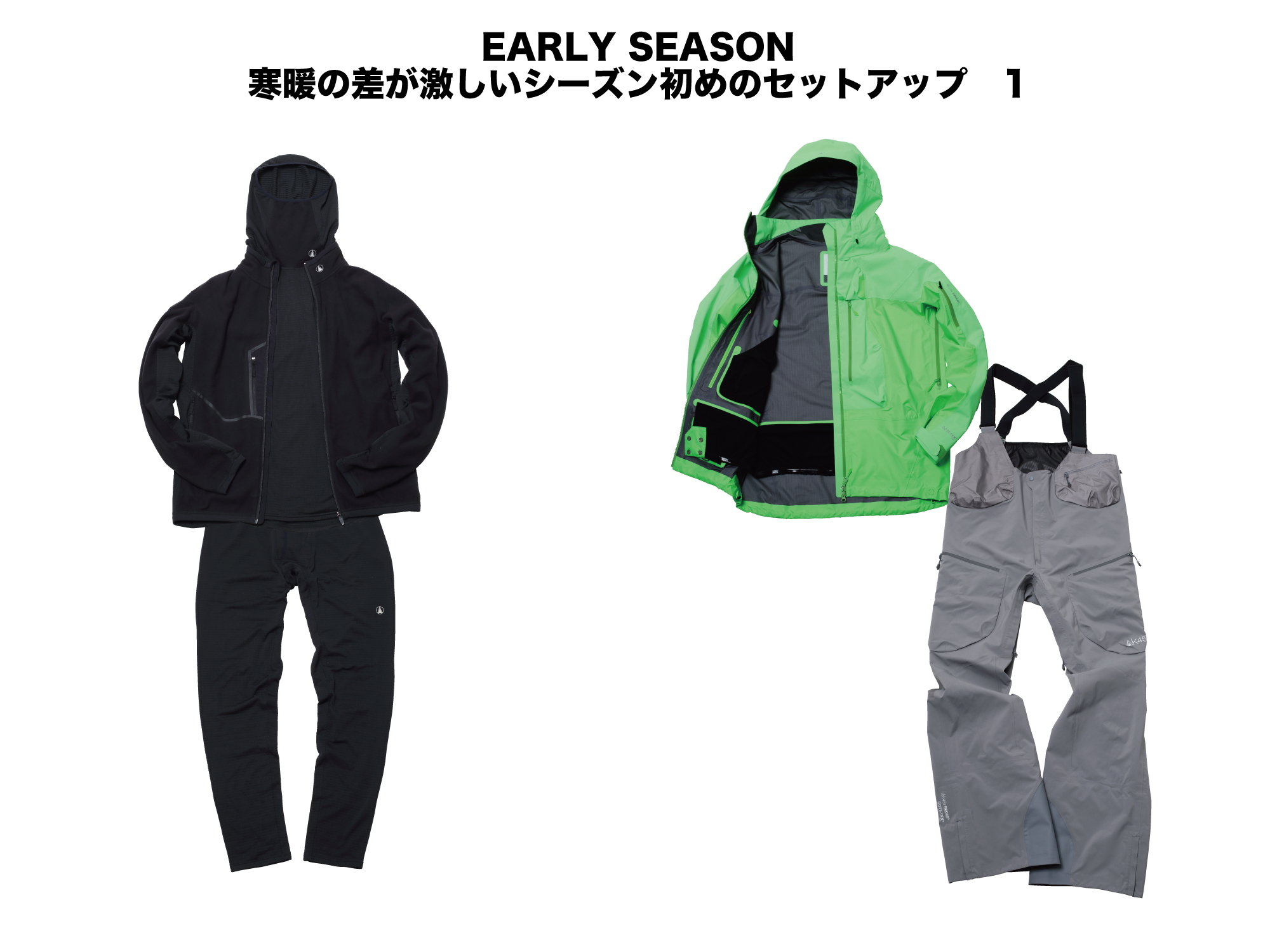(上半身)(INNER)BASE LAYER HI NECK FLEECE:¥18,000+MICRO FLEECE JACKET:¥34,000 (OUTER)GUIDE JACKET:¥89,000 (下半身)(INNER)BASE LAYER PANT FLEECE:¥16,000 (OUTER)HI-TOP PANT:¥79,000