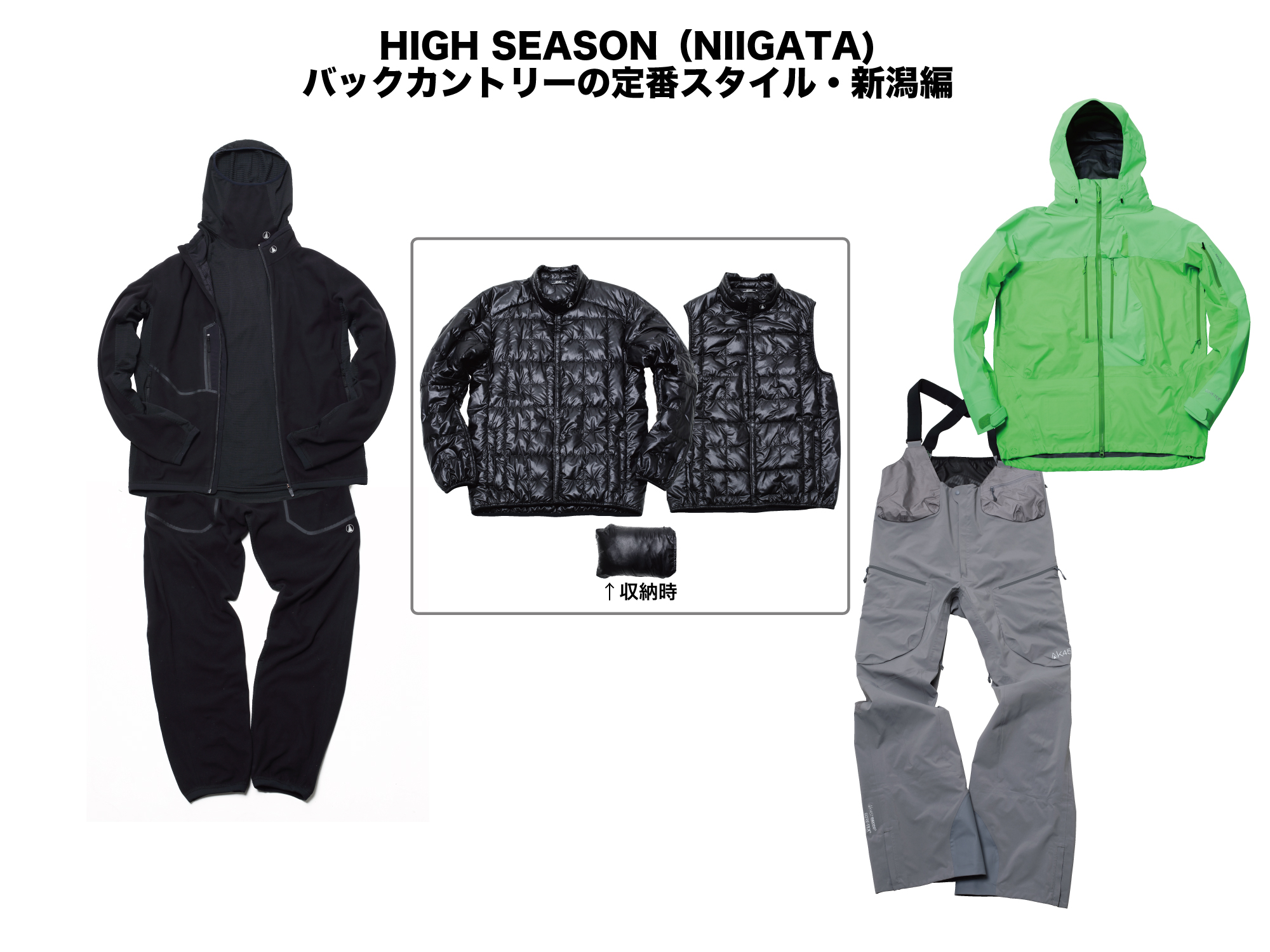(上)(INNER)BASE LAYER HI NECK FLEECE:¥18,000+MICRO FLEECE JACKET:¥34,000 ++PACKABLE DOWN JACKET :¥46,000/VEST:¥38,000 (OUTER)GUIDE JACKET:¥89,000 (下)(INNER)MICRO FLEECE PANT:¥34,000 (OUTER)HI-TOP PANT:¥79,000