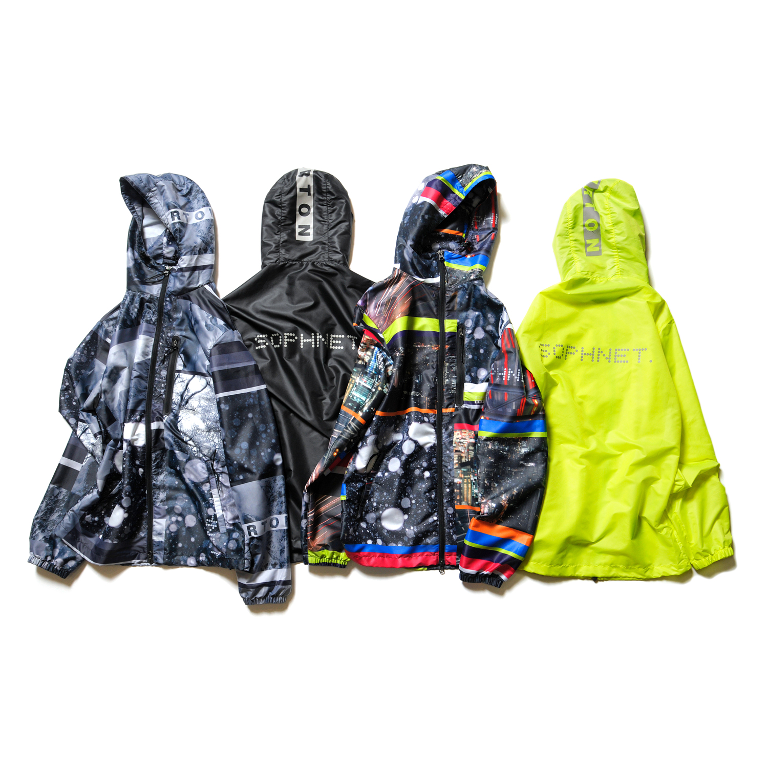 <LIGHT WEIGHT HOOD BLOUSON>  color : BLACK , YELLOW , CITY NEON , SNOW MOUNTAIN size : S , M , L , XL  price : 30,000 + TAX