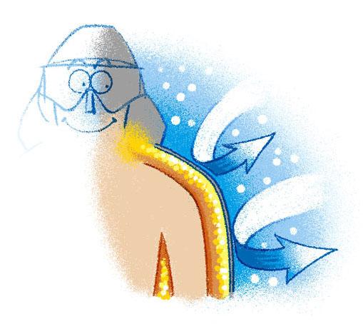 体温をしっかり保つために、温まった空気を動かさないようにする。それがインサレーションの役割だ