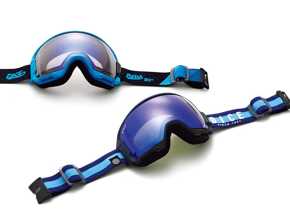 (上)REW×HIGH ROLLER フレーム: スカイブルー、マットホワイト レンズ: アイスミラー / ウルトラライトパープル(共通) PRICE: ¥24,000 (下)HIGH ROLLER フレーム: マットネイビー、マットブラック、マットレッド、マットホワイト レンズ: MITブルー / 偏光グレイ(共通) PRICE: ¥26,000