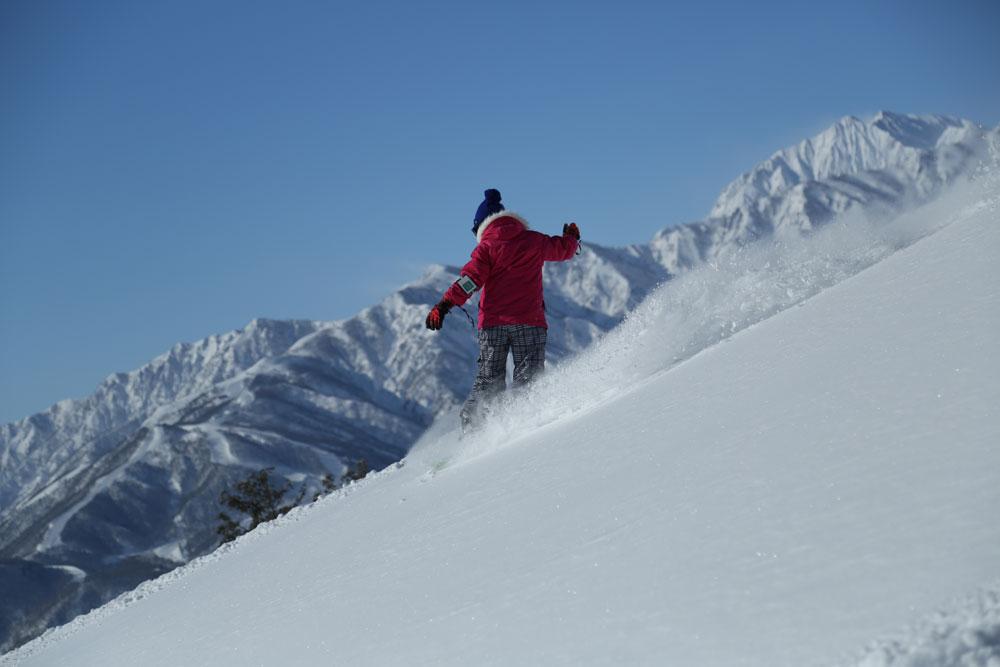 絶景が自慢の白馬岩岳だから、絶景を見ながらの爽快パウダーライディングも楽しめる