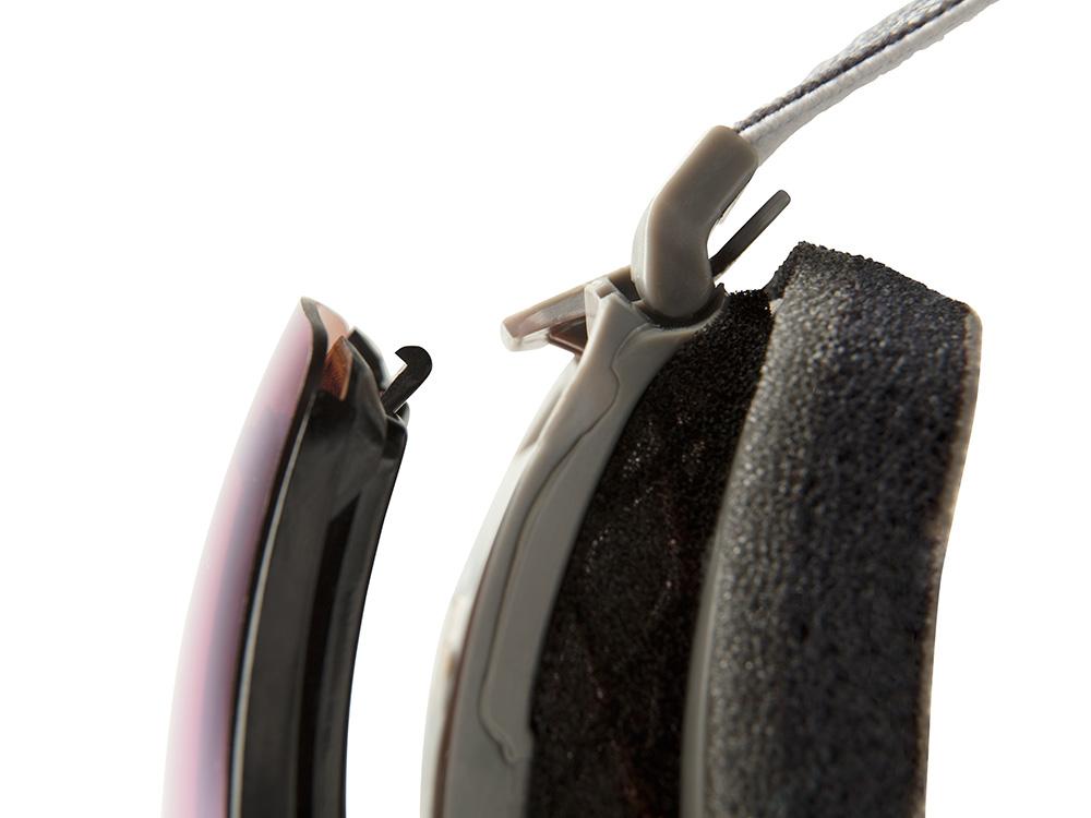 「デュアル・ロッキング・メカニズム」 マグネットの磁力でレンズをフレームへ自動的にガイドし、左右のロッキング・システムで外部からの衝撃やねじれに対応、レンズをパーフェクトに固定。ロックオフはストラップの付け根付近にある左右どちらかのツマミをフェイスフォーム側に下げるだけ
