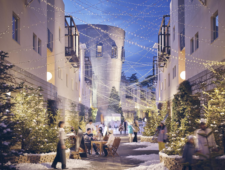 ▲リゾナーレ八ヶ岳 メインストリート『ピーマン通り』は、店舗が軒を連ねるショッピングモールでもあり、冬はスノーリゾートタウンに変貌する。