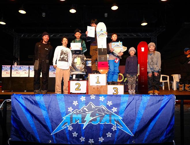 ビギナー男子クラスは飛距離のあるバックサイド360インディーグラブを披露して優勝したナイトウ ルイ